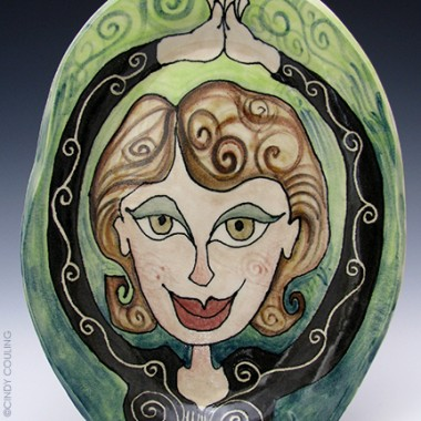 Ceramic high fired pottery platter by Cindy Couling. Duncan underglazes.
