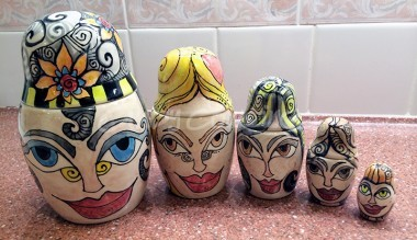 Final set of ceramic clay matroyoska dolls painted by CIndy Couling.