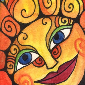 Smiling Sun Face by CIndy Couling.