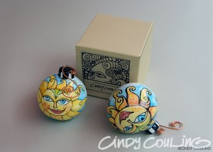 "Hand painted sun clay Christmas ornaments. El Sol design. Size is 3"" across."