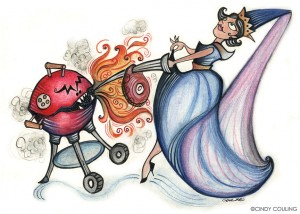 Illustration created for Metro Newspapers Dining Section. Princess vs. the BBQ Beast.