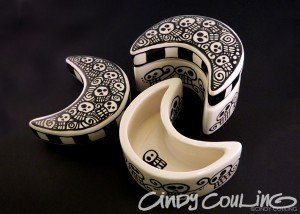 Ceramic moon boxes. Hand painted Day of the Dead themed skull moon boxes.
