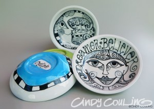 """Small hand painted ceramic bowls. Diameter of 5"""" around. Low fired and designed with Duncan underglazes."""