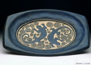 Sgraffito carved platter with Gecko design. High fired to cone 10.