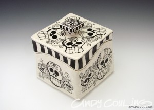 Large extruded box with Day of the Dead motif. Low fired to cone 06.