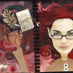 Art journal, paint, collage, mixed media, drawing and pen and ink.