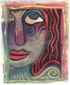 Stamped_ATC_Dreamer_Face_Couling_Block_print
