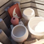 Preloading the kiln to get ready for raku fire.